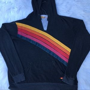 Aviator nation rainbow striped hoodie
